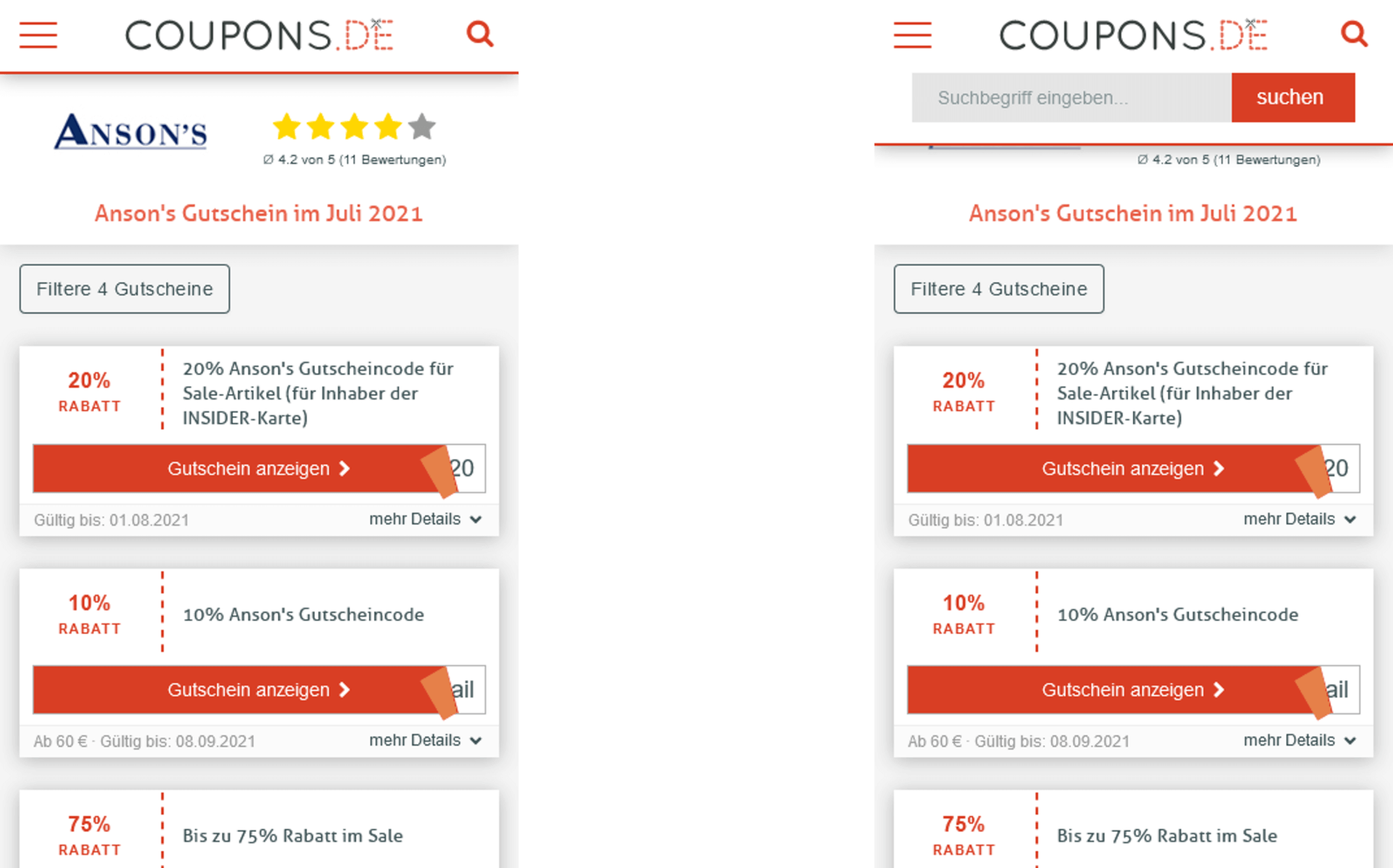 Coupons.de Suchfunktion Best Practice