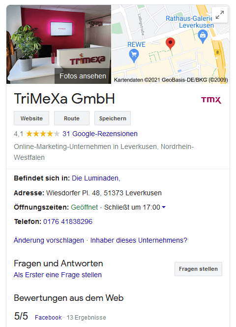 Trimexa GmbH Google My Business Reviews